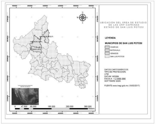 Mapa de la zona de estudio donde se ubican las URP en la región  del Altiplano Potosino. Elaboración: Paula Nephtaly Carrera Álvarez