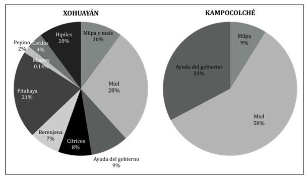 Figura 4. Distribución de  las fuentes de ingresos de la unidad familiar tipo para cada comunidad