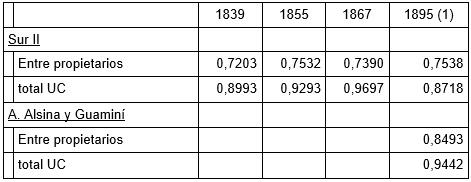 Tabla 11 - Comparación Gini con zonas nuevas y novísimas